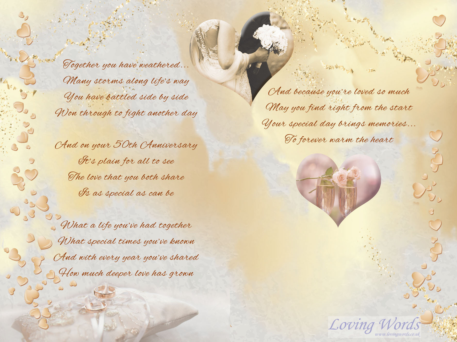 Golden Wedding Mum Dad Greeting Cards By Loving Words