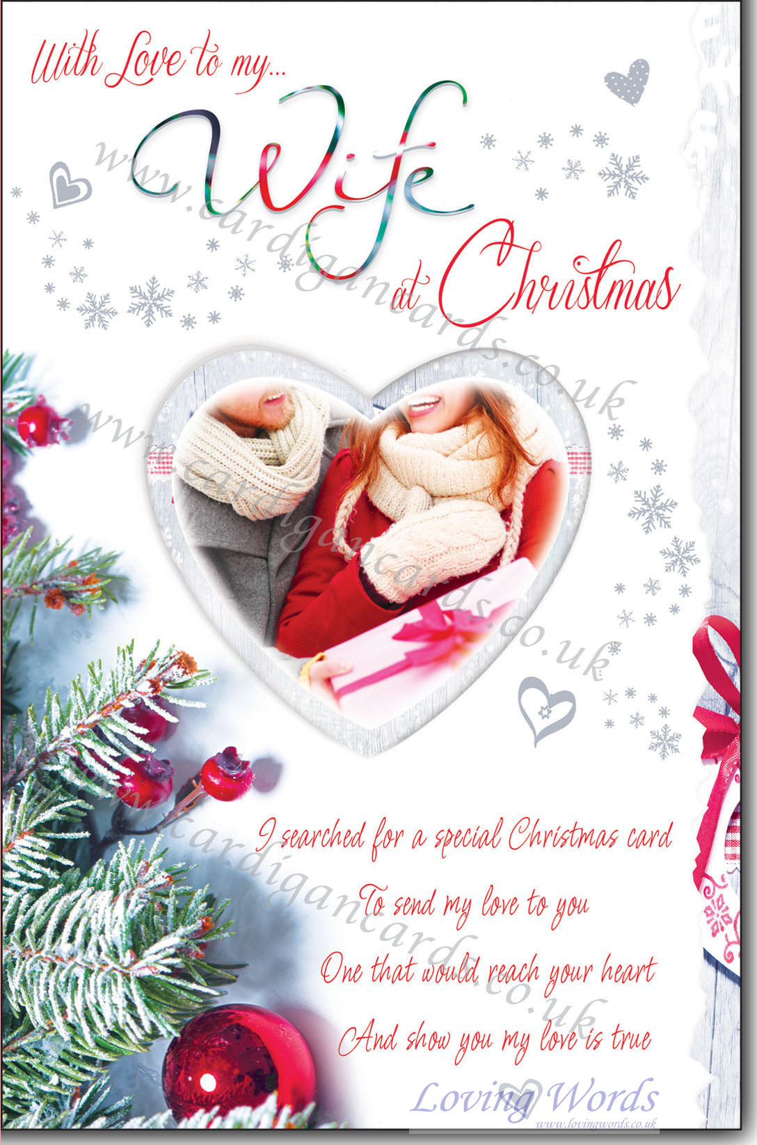 With love to my wife at christmas greeting cards by loving words personalised greeting cards kristyandbryce Choice Image