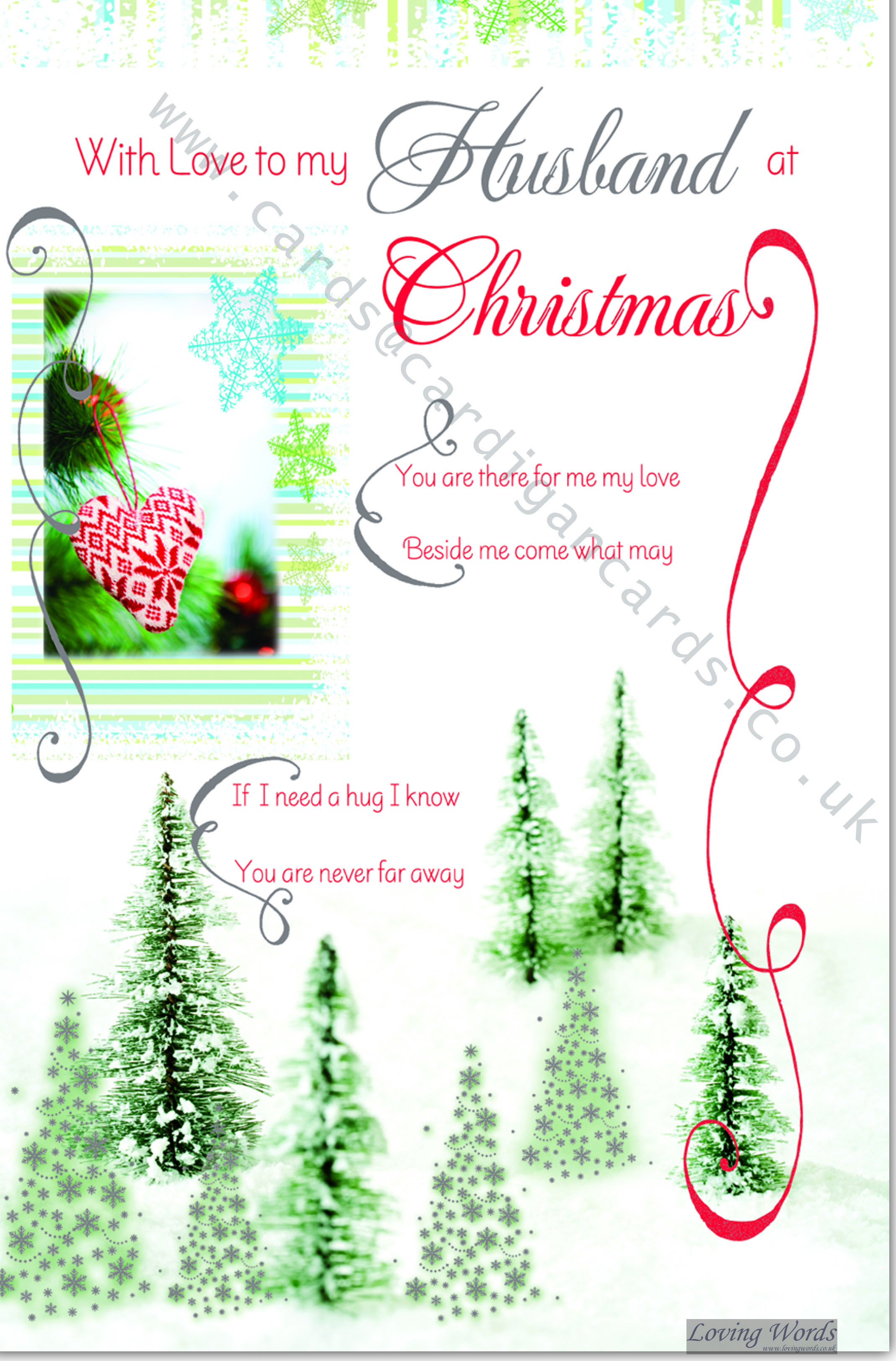 With love to my husband at christmas greeting cards by loving words personalised greeting cards kristyandbryce Choice Image