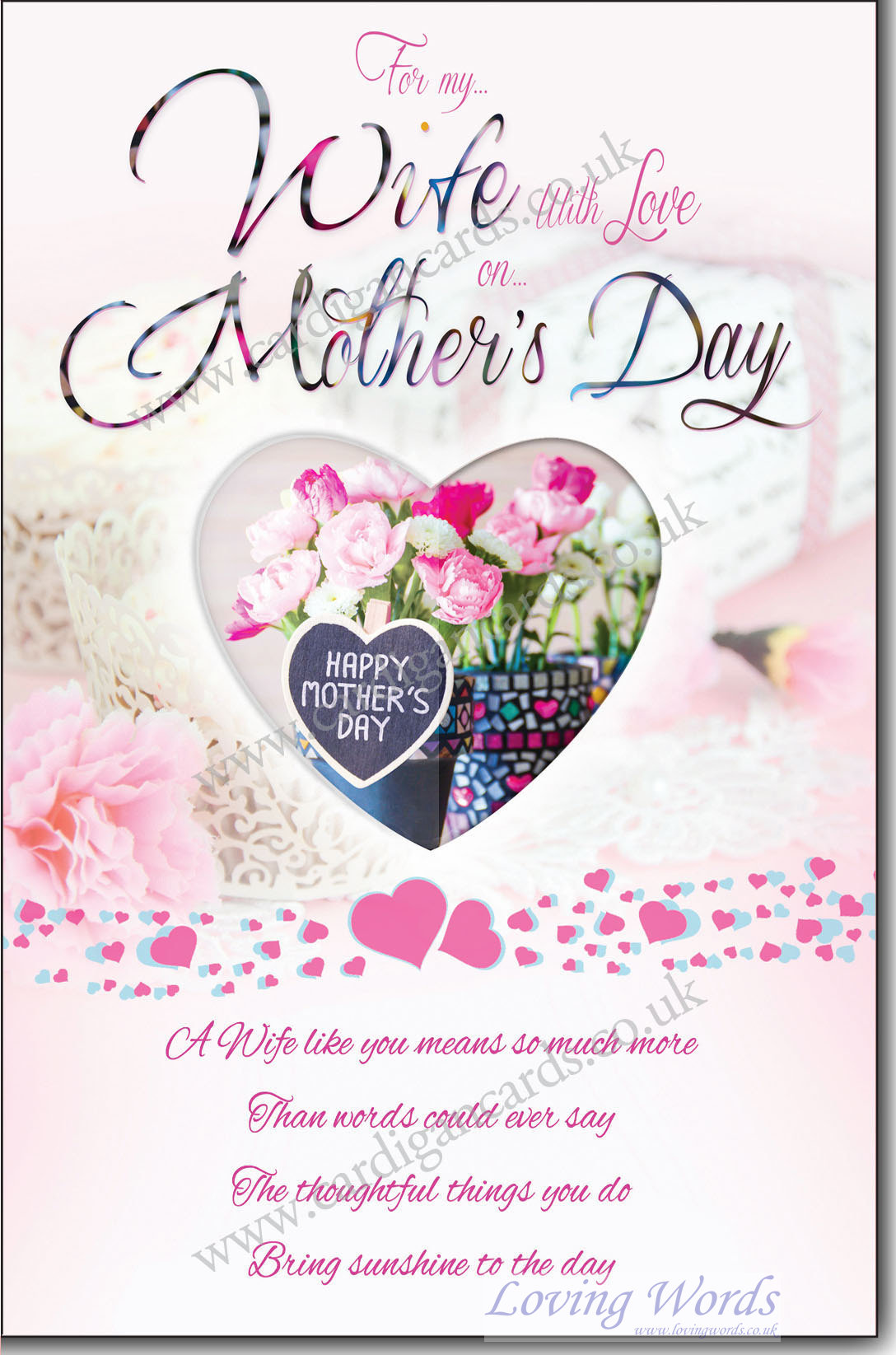Wife on mothers day greeting cards by loving words personalised greeting cards kristyandbryce Choice Image