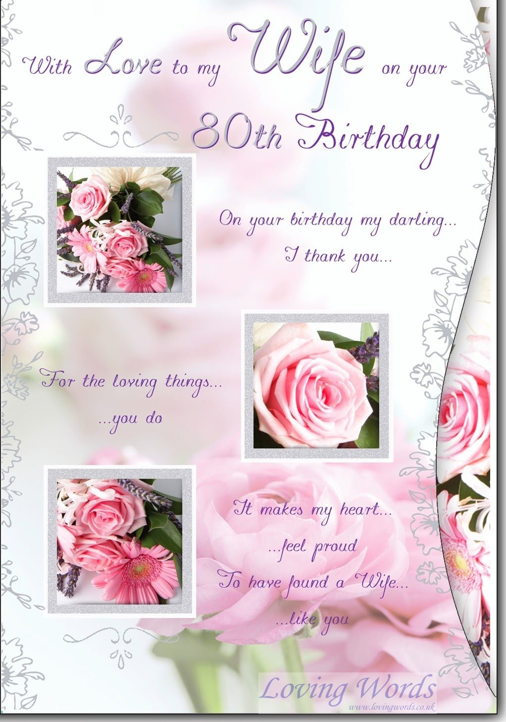 Wife 80th Birthday Greeting Cards By Loving Words
