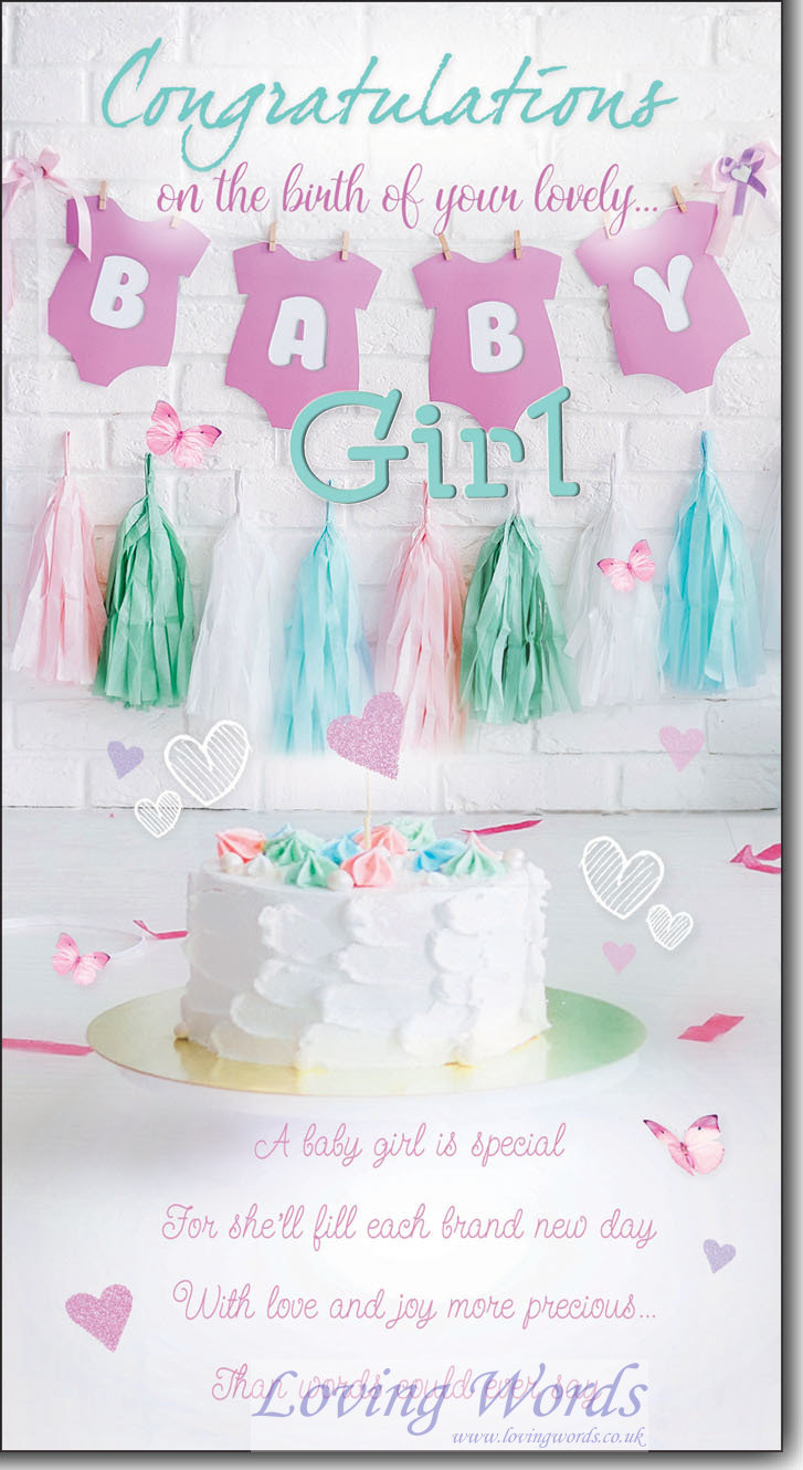 Baby girl birth greeting cards by loving words personalised greeting cards m4hsunfo