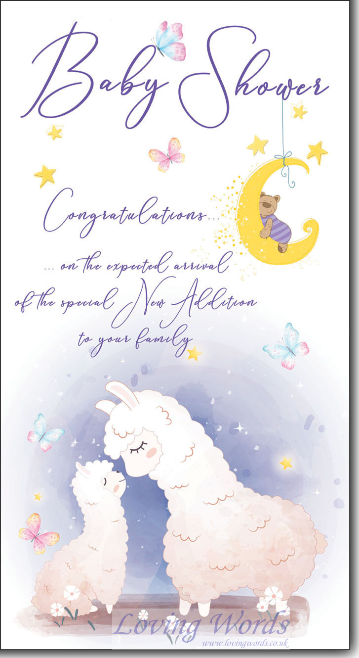 Baby shower greeting cards by loving words personalised greeting cards kristyandbryce Gallery