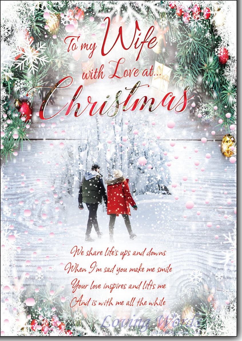 Wife with love at christmas greeting cards by loving words personalised greeting cards kristyandbryce Choice Image