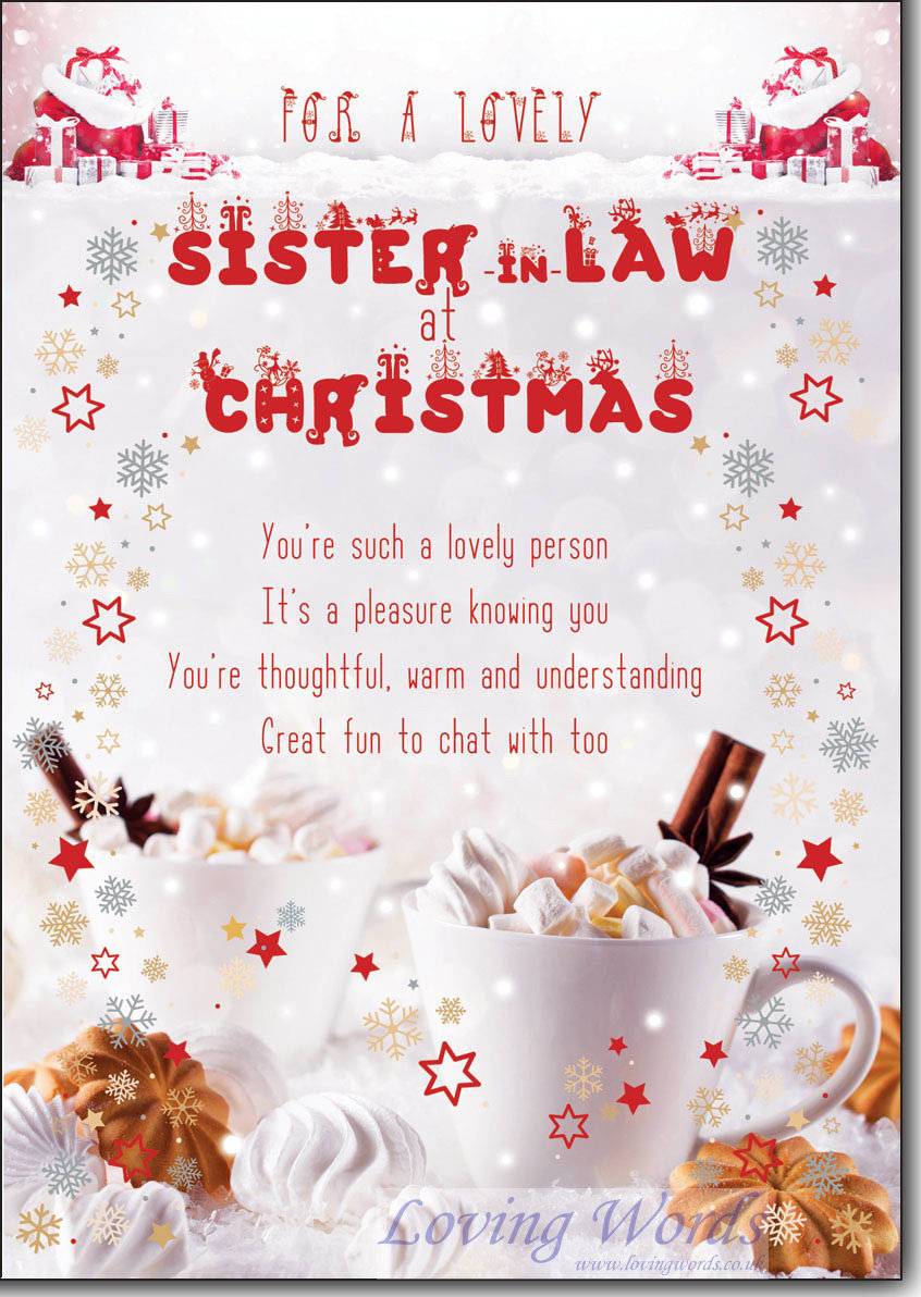 To a special sister in law at christmas greeting cards by loving words personalised greeting cards m4hsunfo