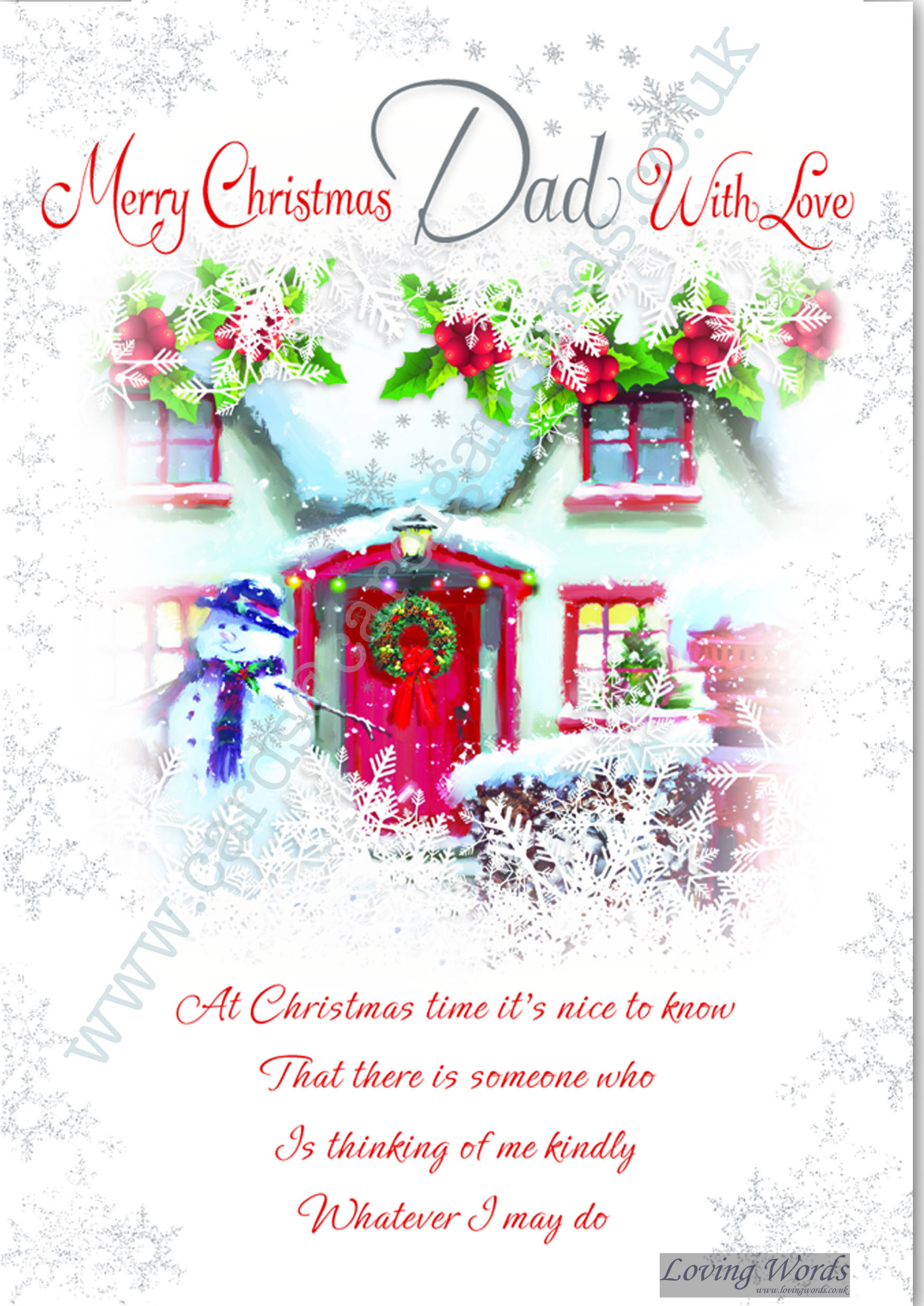 Merry Christmas Dad With Love Greeting Cards By Loving Words