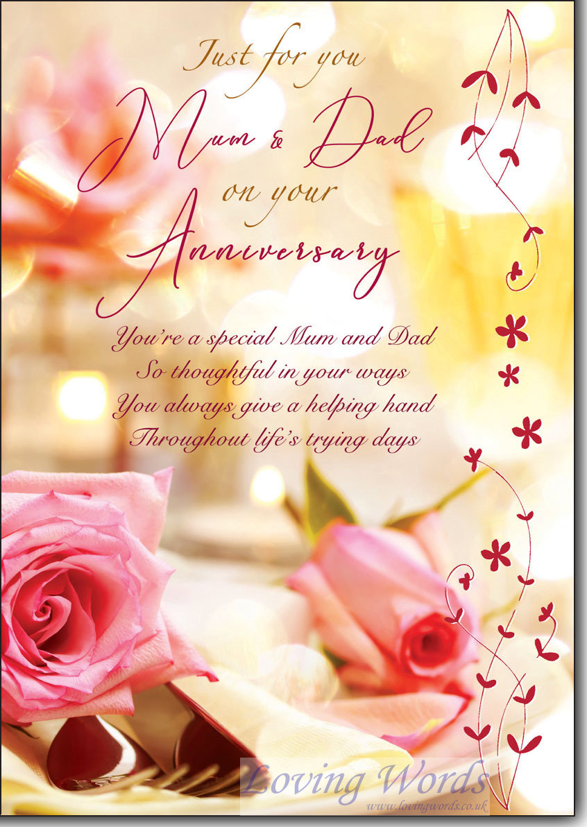 On Your Anniversary Mum And Dad Greeting Cards By Loving Words