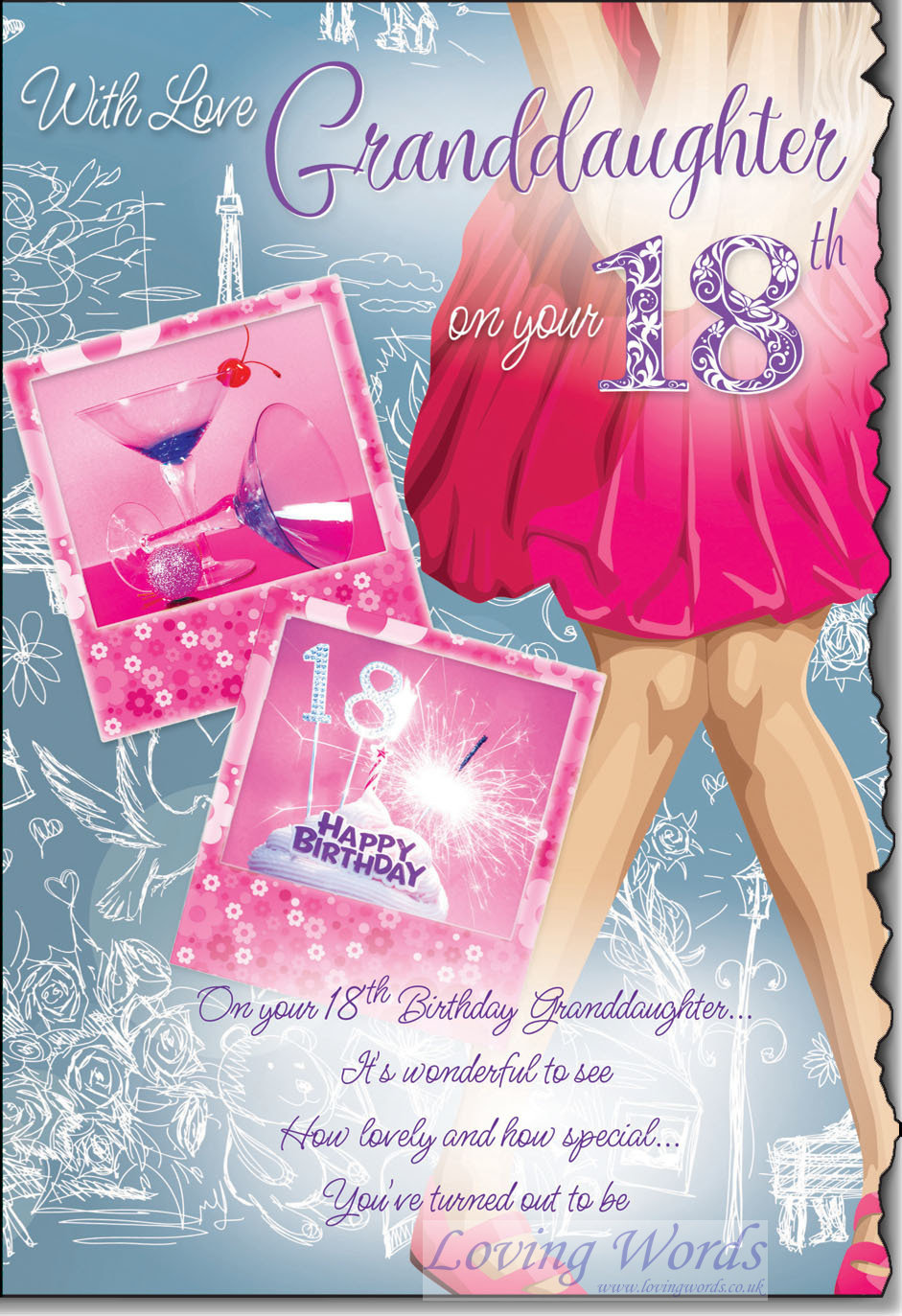 Granddaughter 18th greeting cards by loving words personalised greeting cards kristyandbryce Choice Image