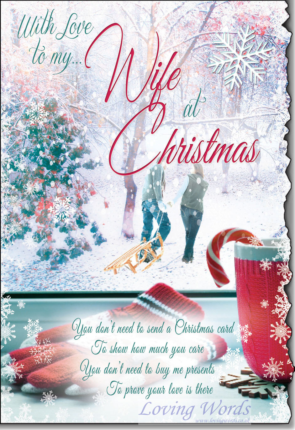 With love to my wife at christmas greeting cards by loving words personalised greeting cards m4hsunfo