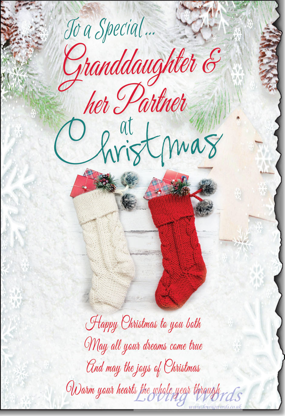 Granddaughter And Partner At Christmas Greeting Cards By Loving Words