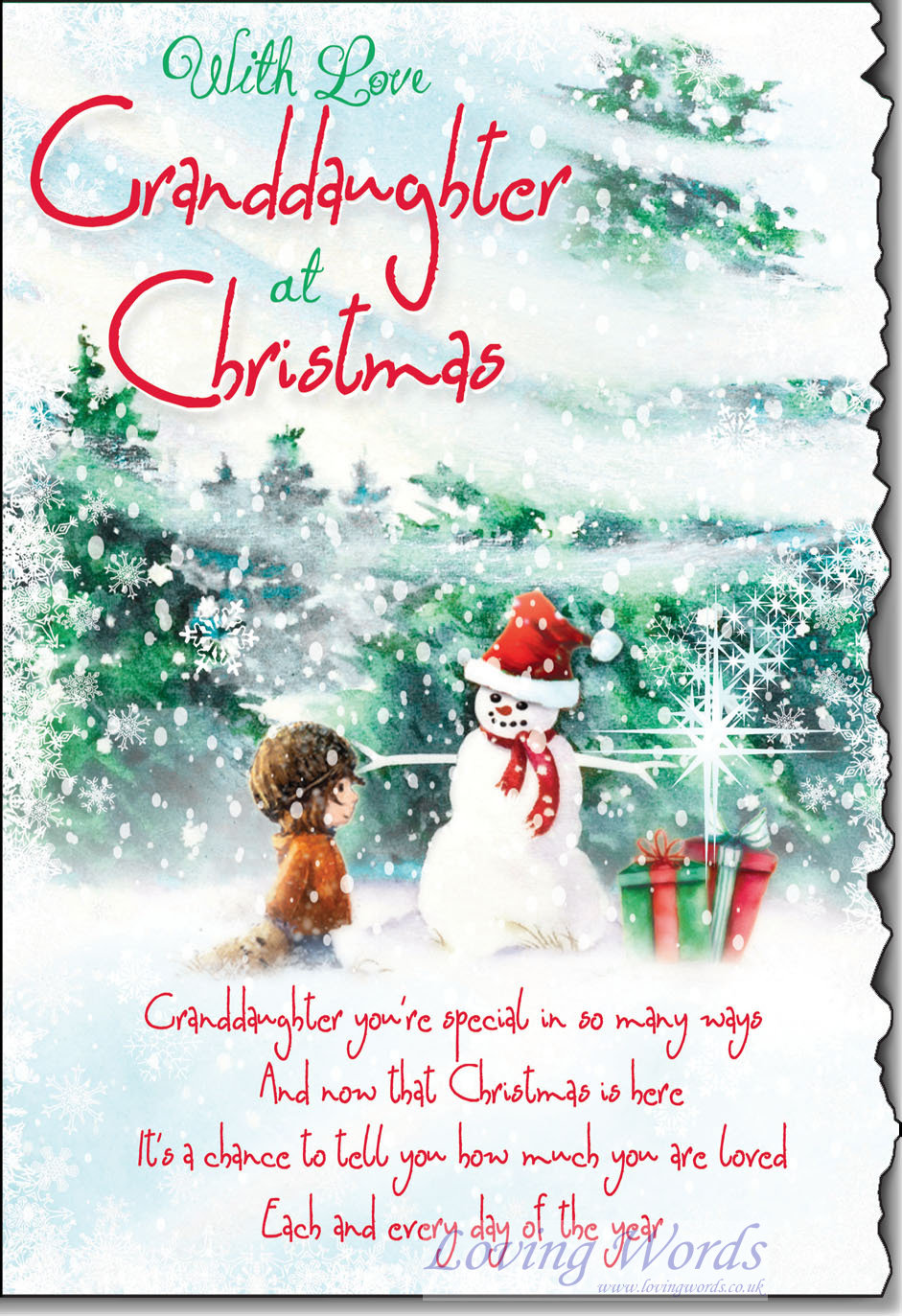 With Love Granddaughter at Christmas | Greeting Cards by ...