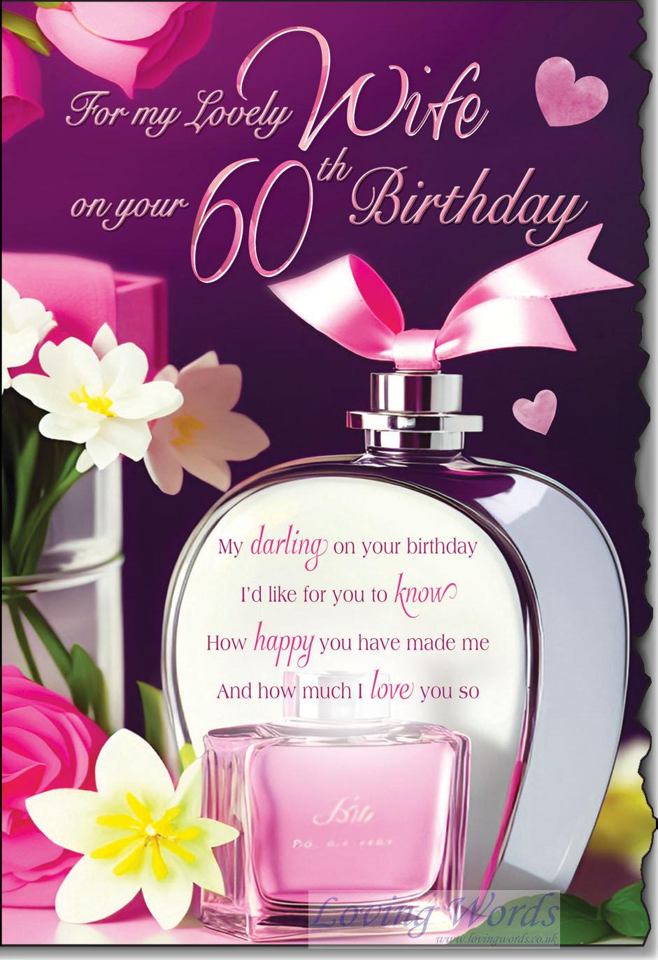 wife 60th birthday  greeting cardsloving words