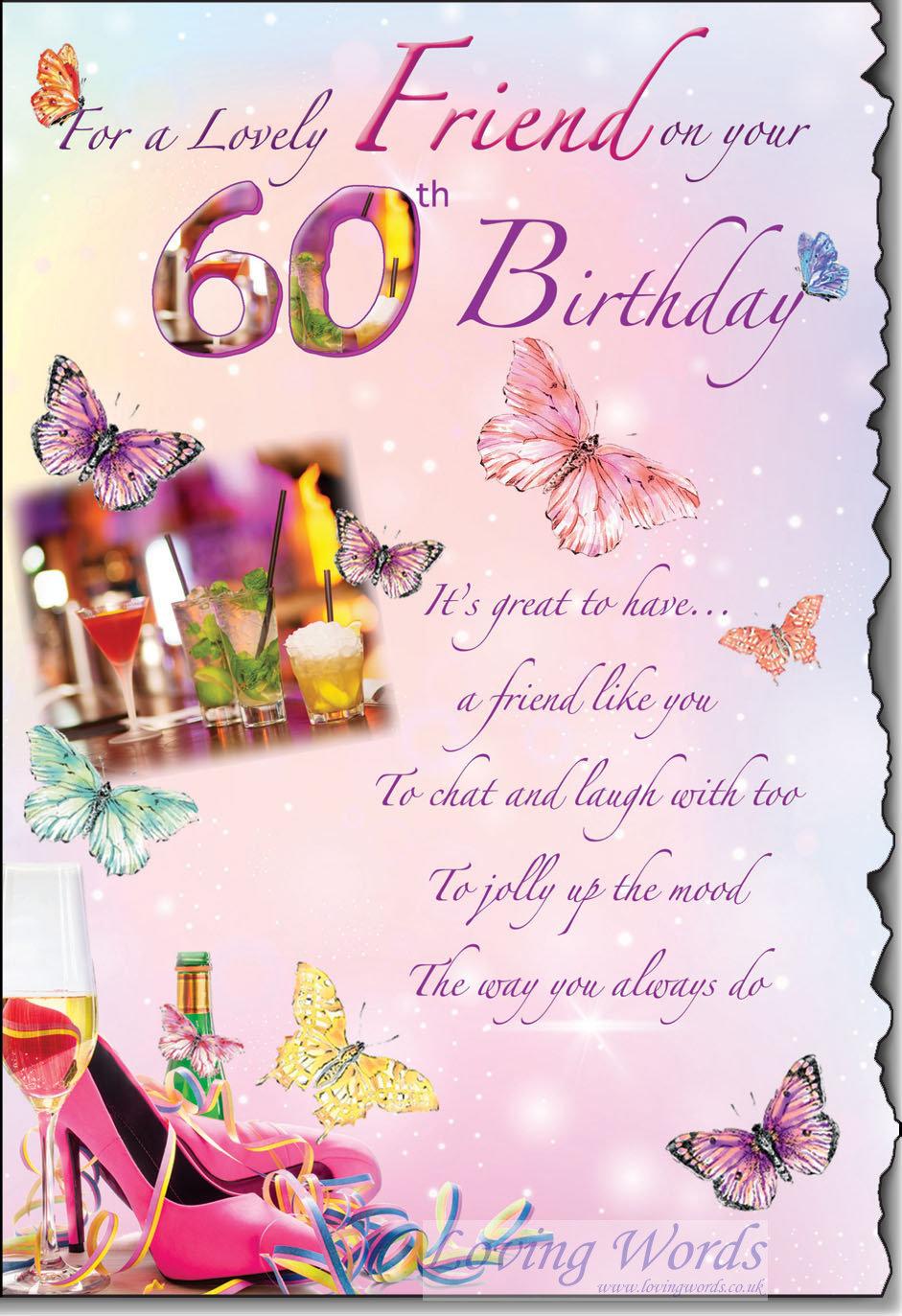 lovely friend 60th birthday  greeting cardsloving words
