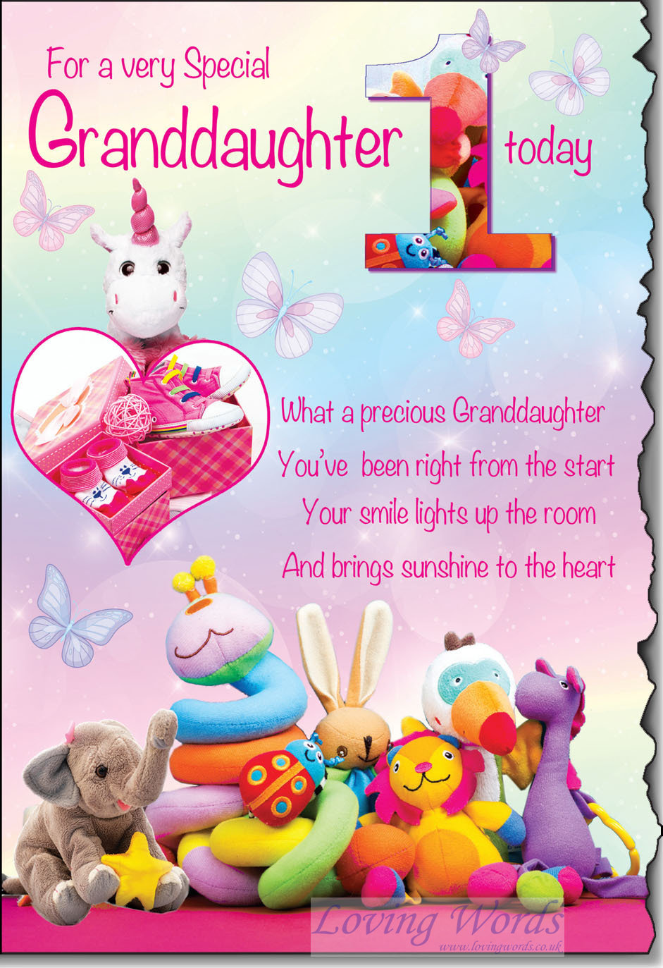 Granddaughter 1st birthday greeting cards by loving words personalised greeting cards m4hsunfo