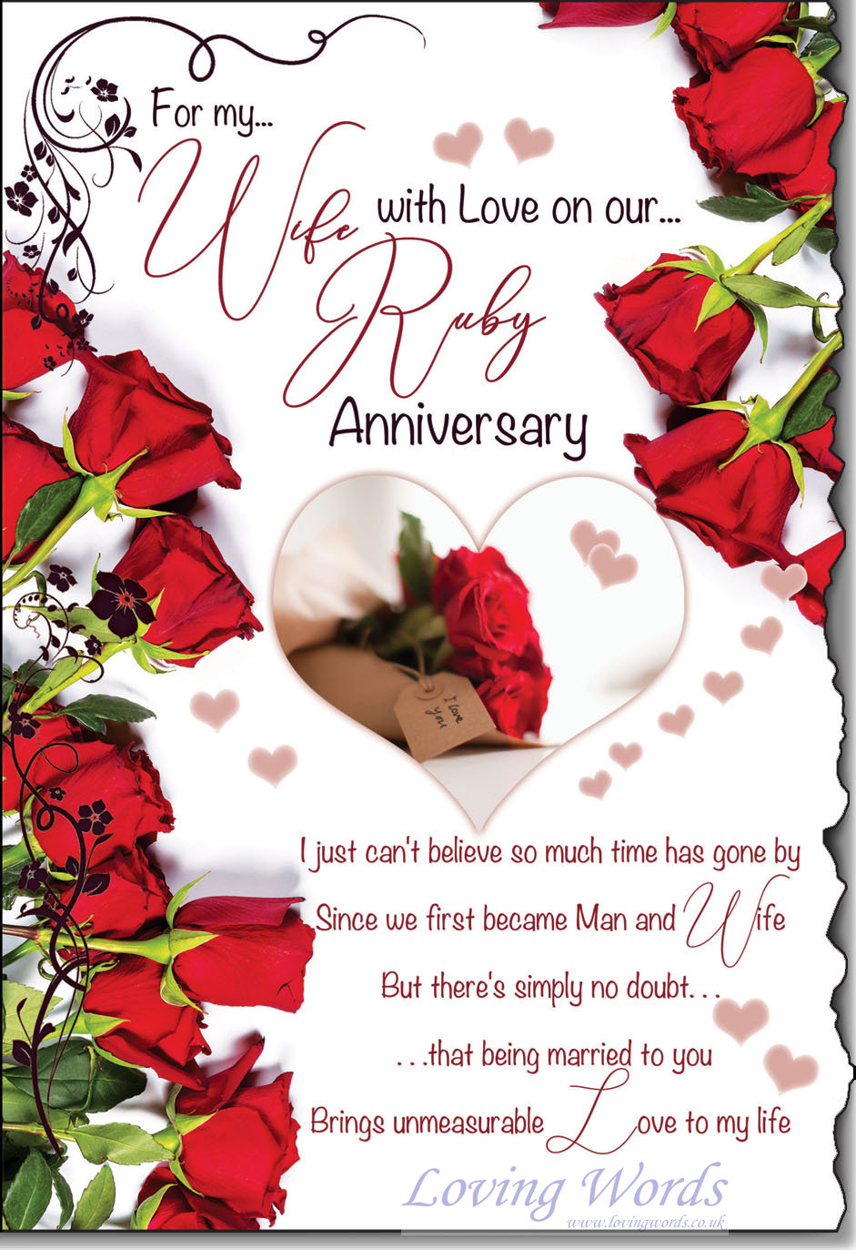 Wife ruby anniversary greeting cards by loving words