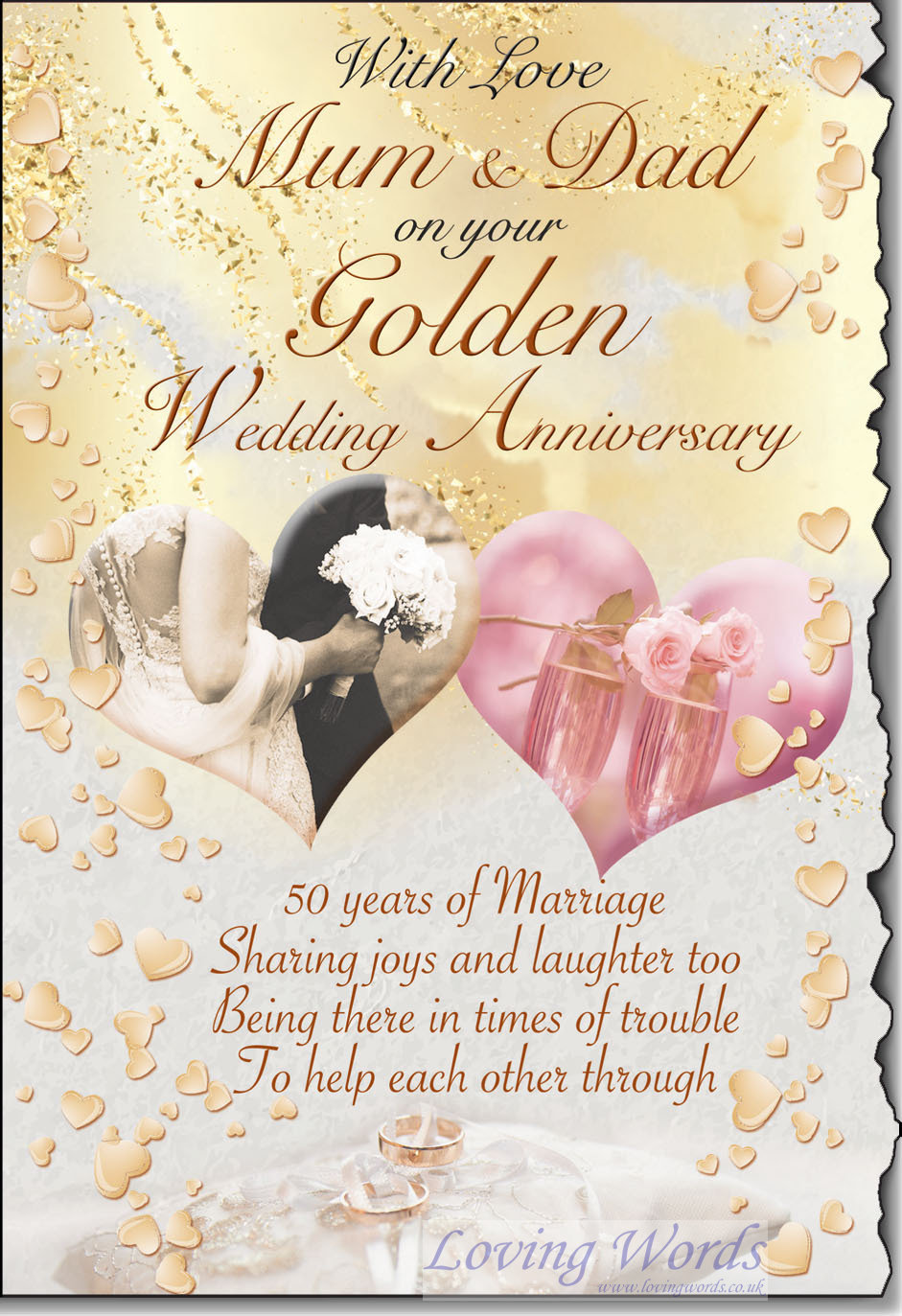 Golden wedding mum dad greeting cards by loving words personalised greeting cards m4hsunfo