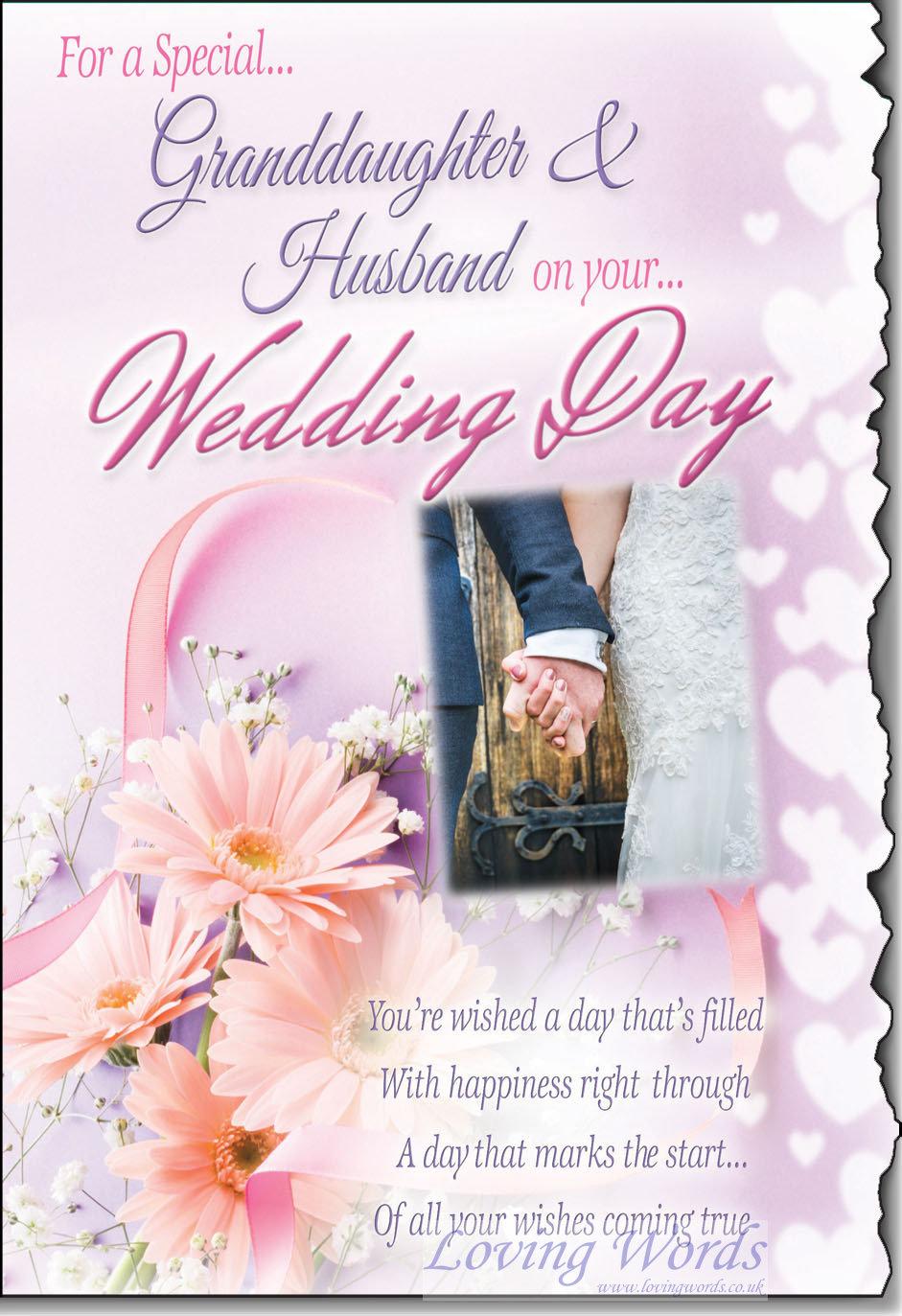 Wedding granddaughter husbandband greeting cards by loving words personalised greeting cards m4hsunfo