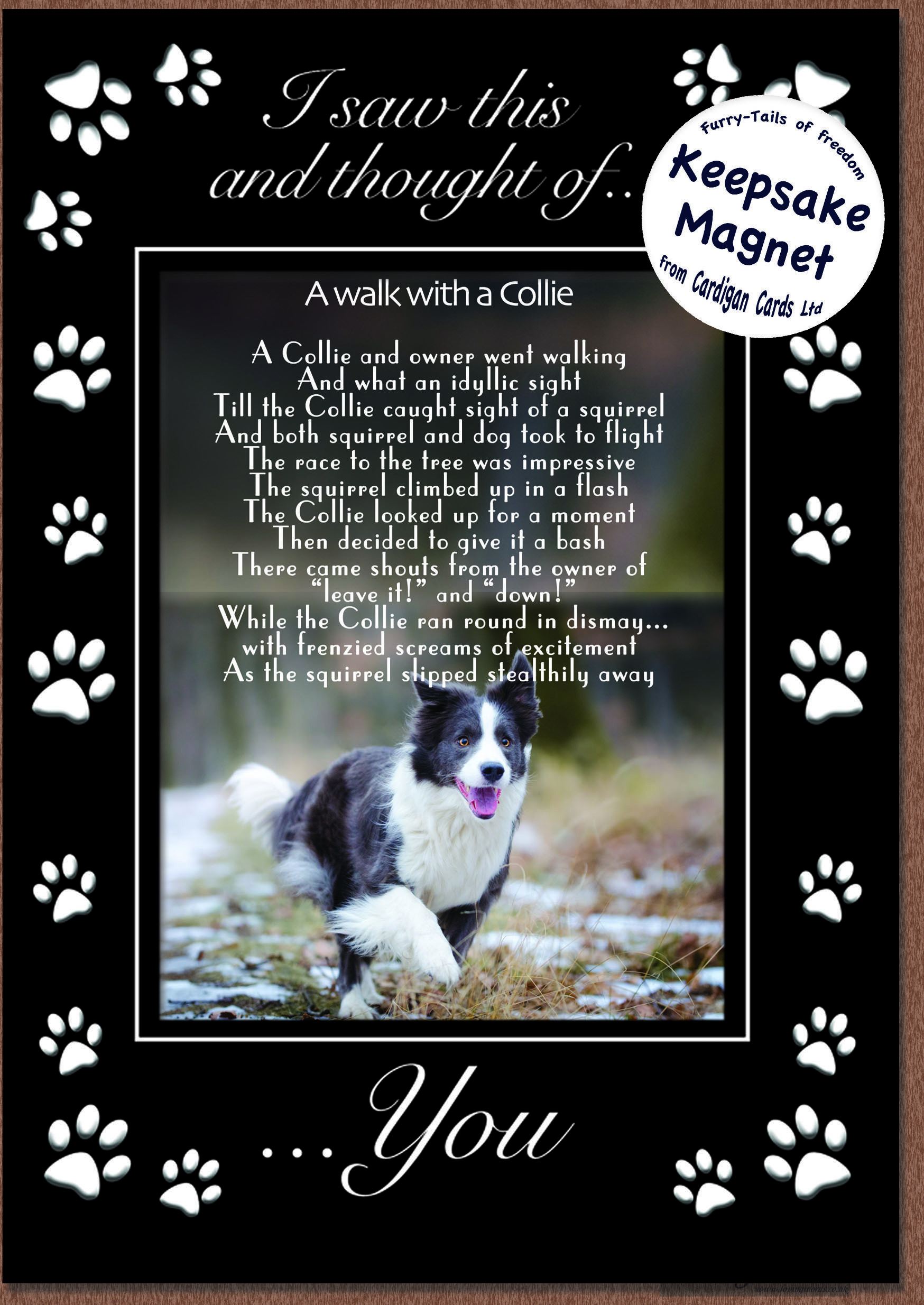 Walk with a collie magnet card greeting cards by loving words personalised greeting cards kristyandbryce Images